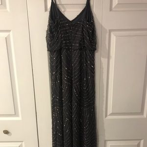 Adrianna Papell embellished blouson gown,gunmetal